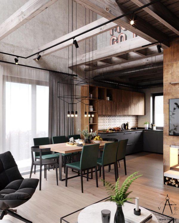 明斯克温暖的工业风格住宅设计