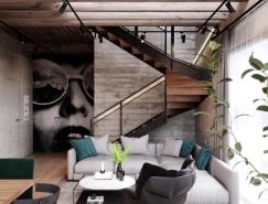 明斯克溫暖的工業風格住宅設計