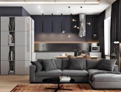 2个阳刚气质的深灰色公寓装修设计