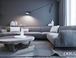 灰白配色的極簡風格的公寓裝修設計