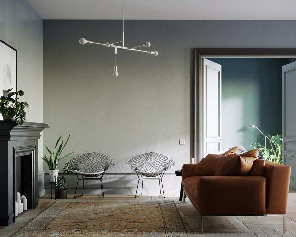 搭配棕色沙发打造高雅客厅设计