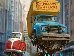 Alejandro Burdisio概念插畫作品:飛翔的汽車