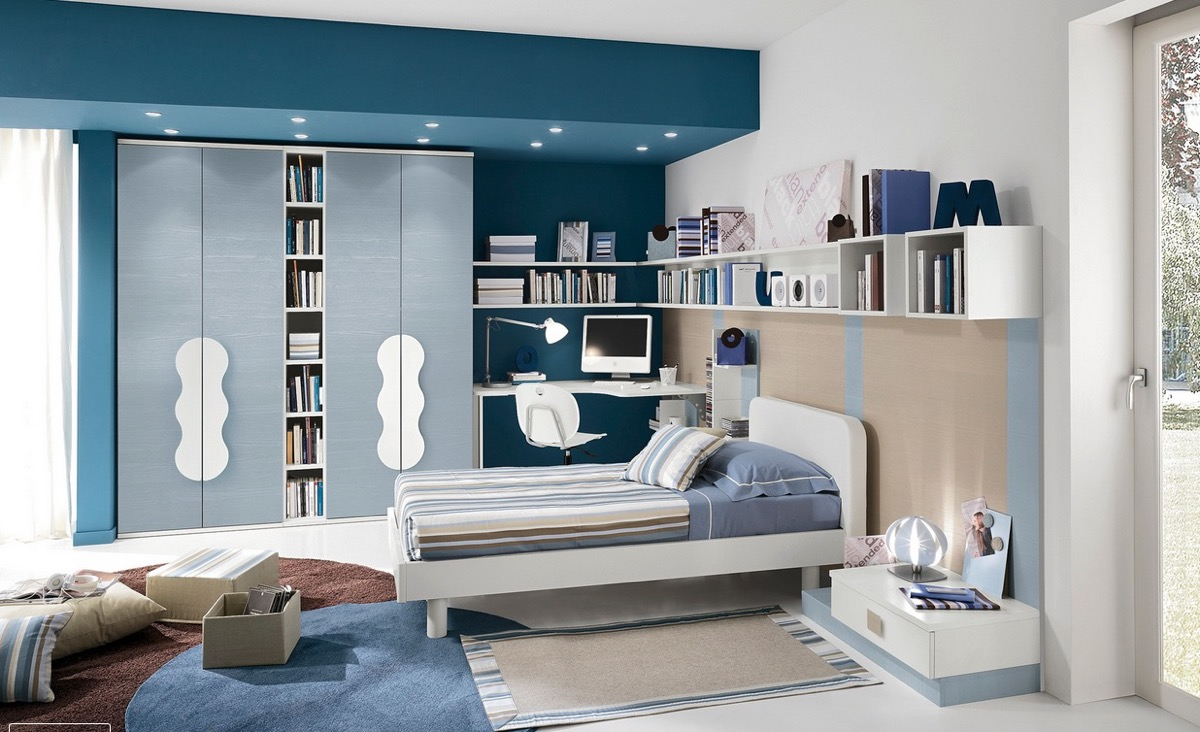 宁静的睡眠空间:30个漂亮的蓝色卧室设计