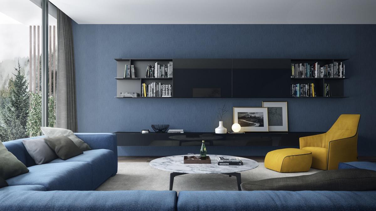 30个a蓝色建模的蓝色系化工装修设计客厅v蓝色3d放松图片