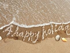 photoshop制作沙滩上的泡沫字效果