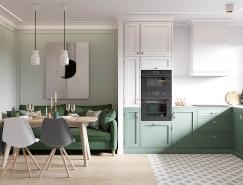 平静而柔和的色调 散发着优雅的精致北欧风格公寓设计