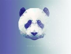 PS繪制低多邊形星空效果熊貓頭像