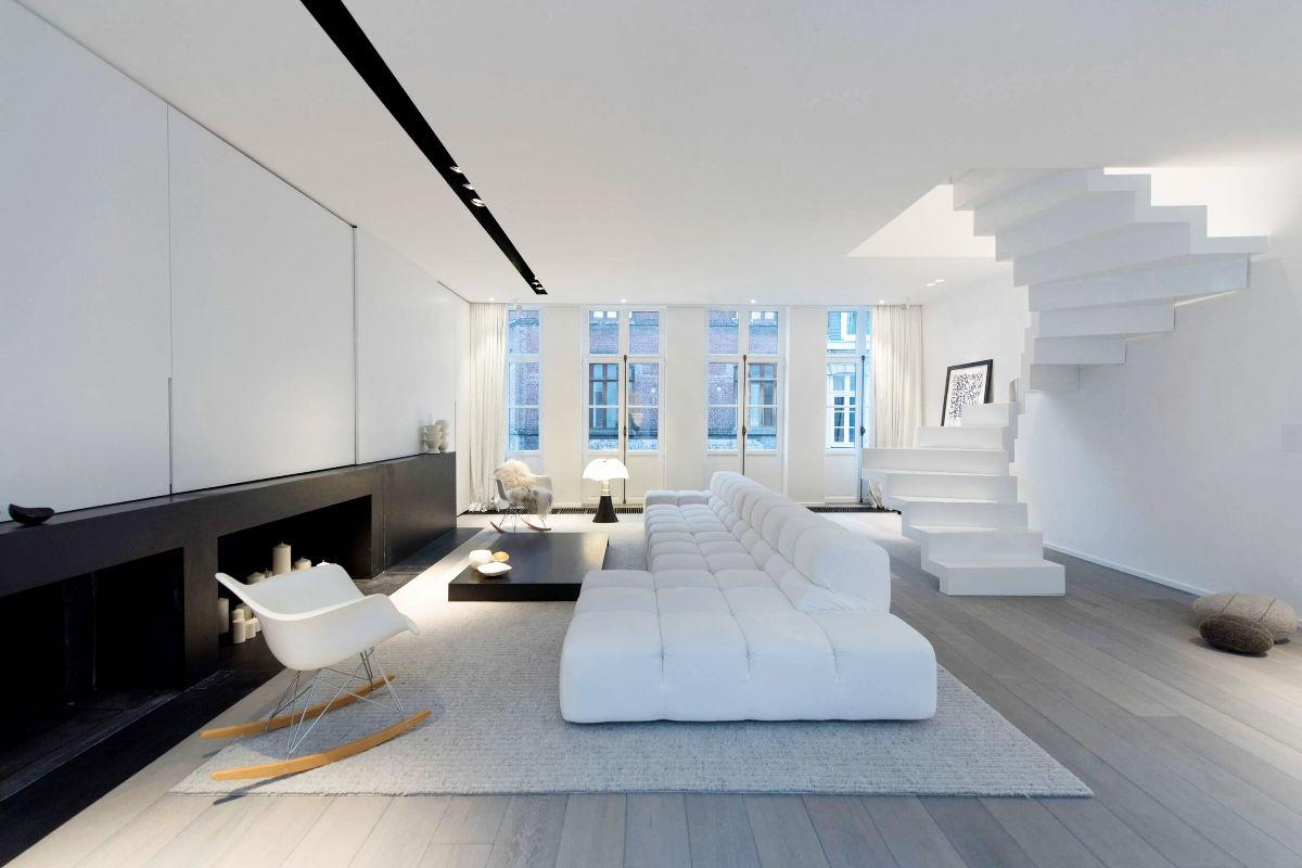 30个纯净的白色起居室与客厅设计
