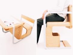 可当椅子和书桌的多功能座椅设计