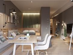 2个精简紧凑的一室公寓装修设计