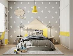 明亮的黄色风格 活力儿童房间设计