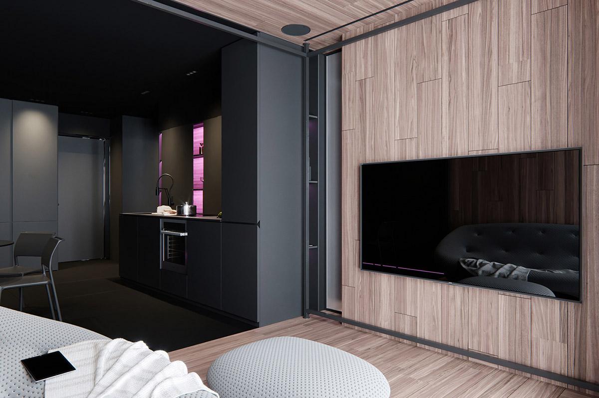 酷黑风格的现代公寓装修设计