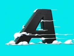 FOREAL作品:与卡通风格插图结合的创意3D字母设计