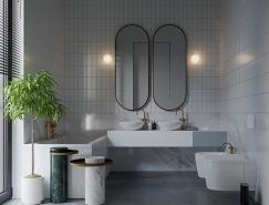 36个灰色和白色配色方案的卫生间设计